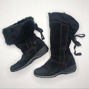 Sporto Black Suede Fleece Lined Waterproof Boots